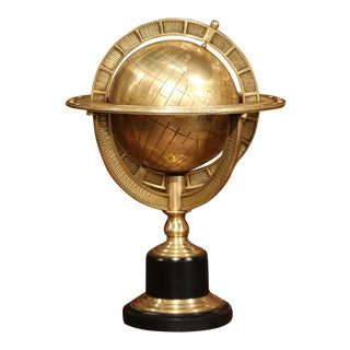 Mid-20th Century Bronze Globe on Wooden Stand For Sale