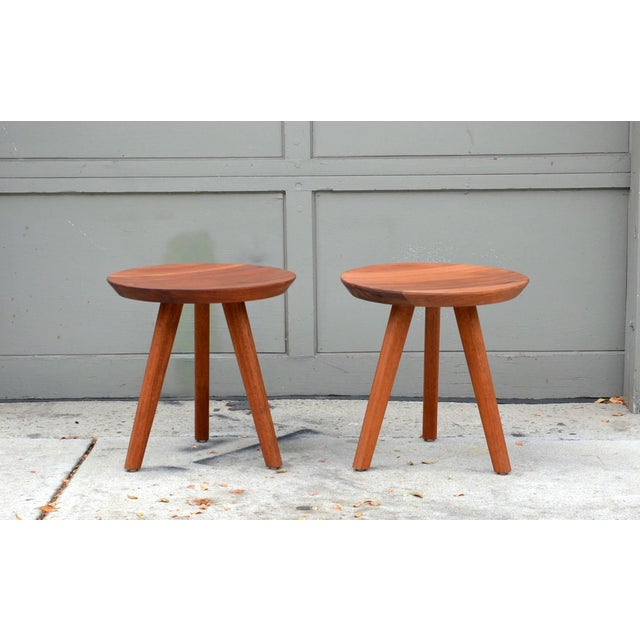 Mid 20th Century Pair of Sturdy Tripod Carved Wood Stools in the Style of Charlotte Perriand For Sale - Image 5 of 6