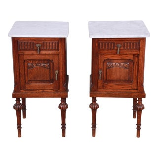 19th Century Victorian Carved Oak Marble Top Nightstands - a Pair For Sale