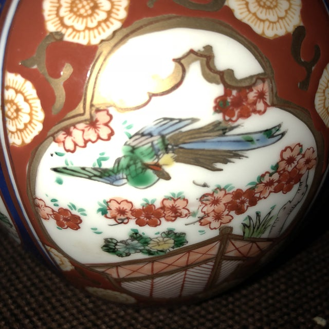 Imari Porcelain Imari Gold Ginger Jar With Lid and Plate For Sale - Image 4 of 10