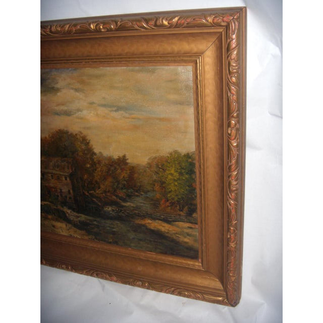 Painting of a Country Mill by a Stream For Sale - Image 4 of 8