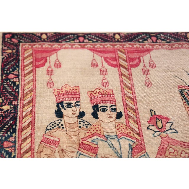 Pictorial Antique Persian Kerman Rug - 4′8″ × 7′6″ For Sale - Image 11 of 13