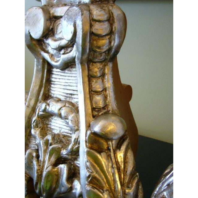 Metal Late 18th Century Italian Silver Gilt Altar Pricket Table Lamps - A Pair For Sale - Image 7 of 11