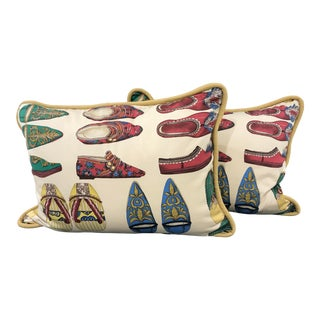 Hollywood Regency Shoe Patterned Pillows - a Pair- Canova Paris Fabric For Sale