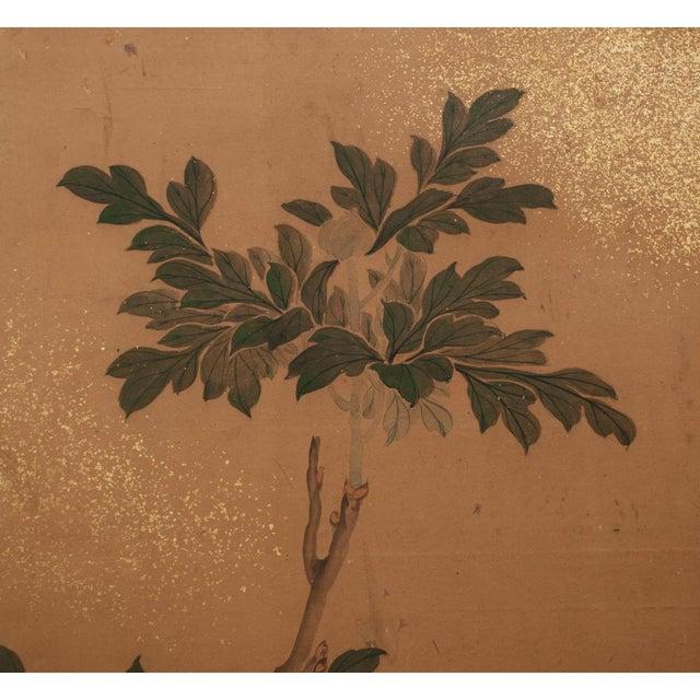 Green 1880s Large Japanese Yamato-E Byobu Screen For Sale - Image 8 of 13