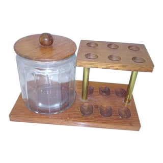 Mid Century Pipe Stand & Glass Humidor - Set of 3 For Sale