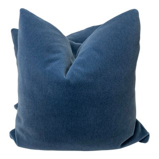 "Mohair in Blue 22"" Pillows-A Pair For Sale"