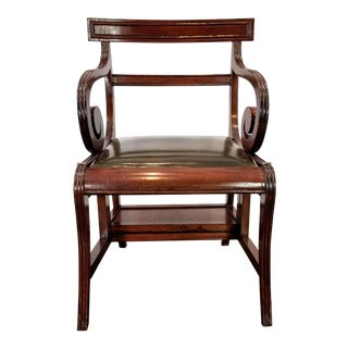 English Regency Style Metamorphic Library Chair / Steps - Mahogany & Embossed Green Leather For Sale