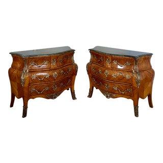 French Marble Top Bombe Chest Bronze Ormolu Commodes - a Pair For Sale