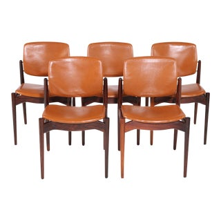 Mid Century Modern Erik Buch Refinished Dining Chairs in Rosewood, Inc. Reupholstery - Set of 5 For Sale