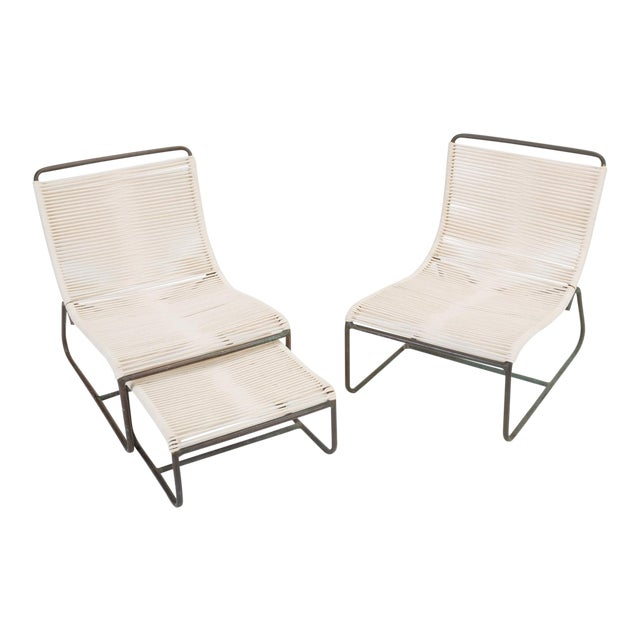 Pair of Walter Lamb Sleigh Chairs With Single Ottoman For Sale