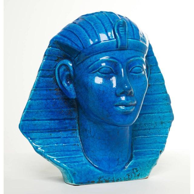 Persian Blue Glaze King Tutankhamun Ceramic Bust by Ugo Zaccagnini - Image 2 of 8