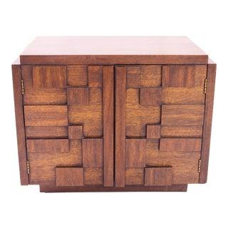 1960s Lane Furniture Mid Century Brutalist Nightstand For Sale