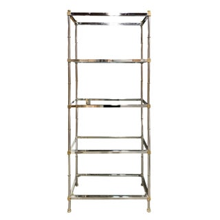 Mid-Century Modern Steel and Brass Etagere With Round Finials For Sale