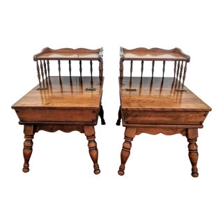 Ethan Allen Early American Two Tier Solid Wood Side Tables - a Pair For Sale
