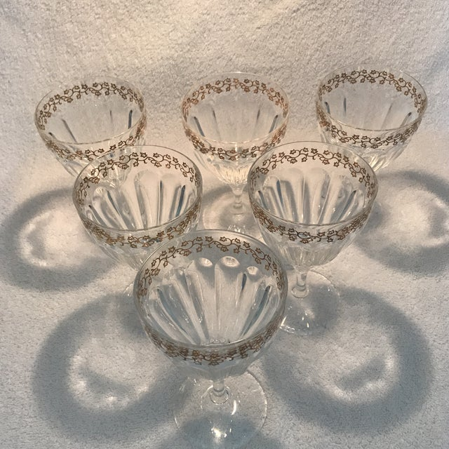 Crystal Goblets With Gold Leaves Trim - Set of 6 For Sale - Image 5 of 9