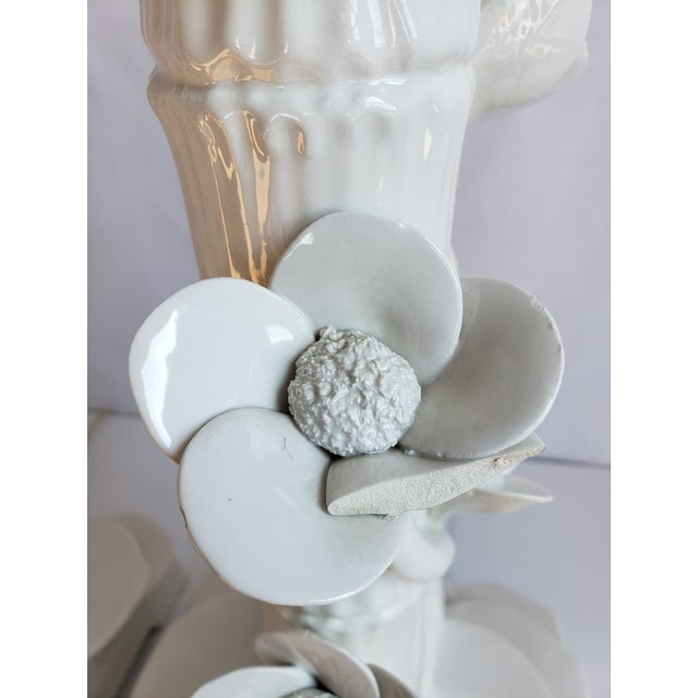 Mid Century Italian Ceramic Faux Bamboo & Lotus Flower Table Lamps-A Pair For Sale - Image 10 of 13
