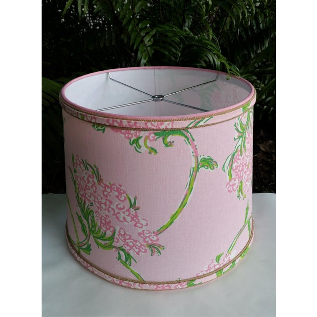Boho Chic Large Lampshade Lilly Pulitzer Fabric Floral Pink For Sale - Image 3 of 11
