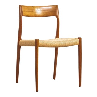 Mid Century Niels Møller Teak and Danish Cord Dining Chair For Sale