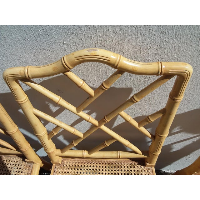 Hollywood Regency Set of Four Faux Bamboo Carved Wood Chairs For Sale - Image 3 of 12