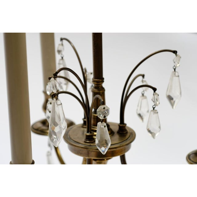 Pair Stiffel Large Brass & Crystal Bouillotte Table Lamps - Image 5 of 7