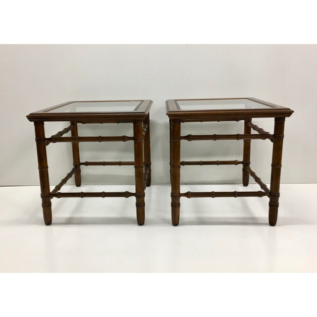 Gorgeous pair of mahogany ring turned, glass top end tables. These are in good shape and would look great as is or even...