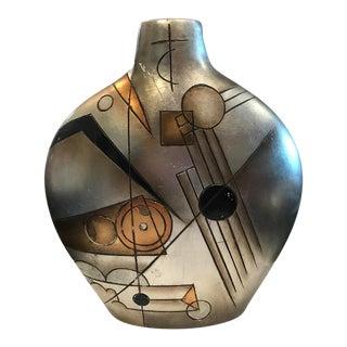 Large Art Deco Style Metallic Geometric Vase For Sale