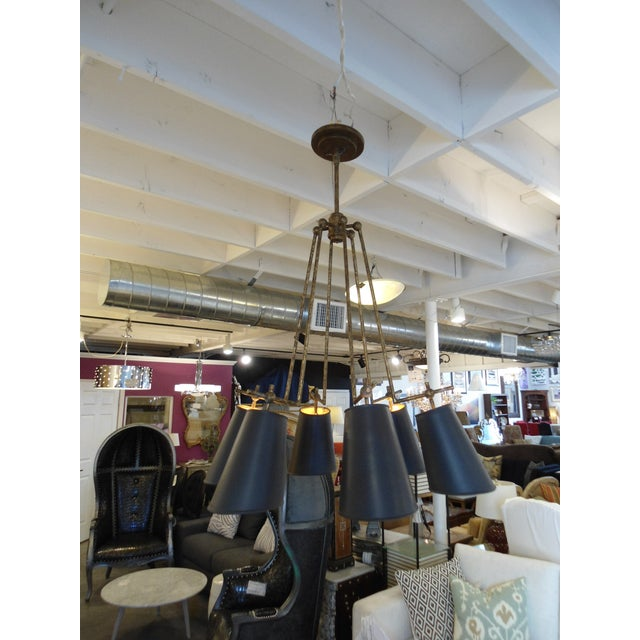 Currey & Company Wrought Iron & Metal Chandelier - Image 2 of 6