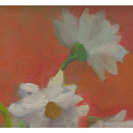 "I love the vermillion background and soft light in this painting of four daisies in a glass. The giclee is 12""H x 1.5""D x..."