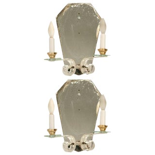 French Mirror & Lucite Sconces - A Pair For Sale