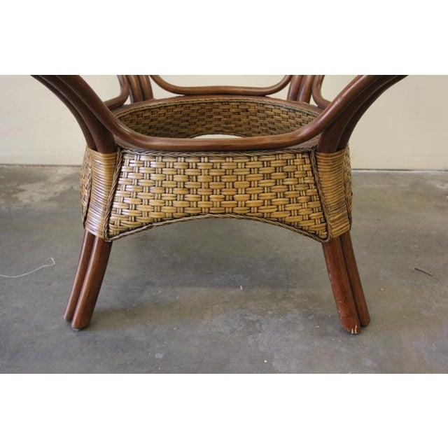 Wicker & Glass Top Dining Table - Image 6 of 8