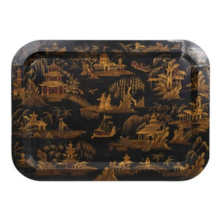 Vintage Black Tray With Handpainted Oriental Sceneries in Gold For Sale