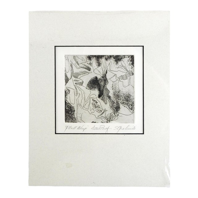 Botanical Abstract Etching For Sale