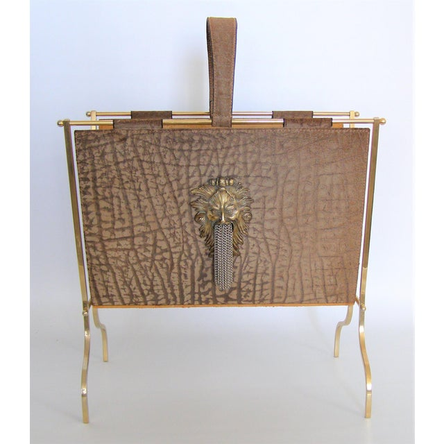 Vintage French Elephant Embossed Suede Leather and Brass Magazine Holder Inspired by Jacques Adnet Mid Century Modern MCM Millennial - Image 4 of 11