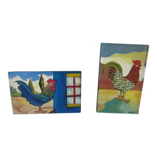 Colorful Original Rooster Paintings by Alberto Batres - A Pair For Sale