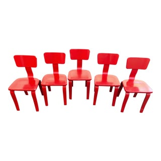 Eames Style Molded Painted Plywood Dining Chairs - Set of 5 For Sale