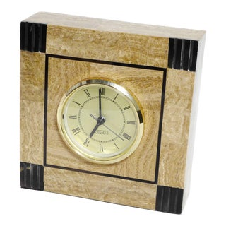 1990s Vintage Oggetti Retro Art Deco Design Marble Desk Clock For Sale