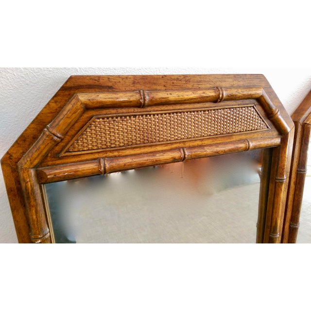 Large Faux Bamboo Mirrors - A Pair - Image 3 of 5