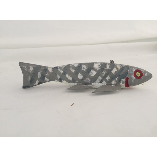 "Vintage Fish Decoy Hand-Carved Hand Painted 6.75"" Ice Fishing Weighted"