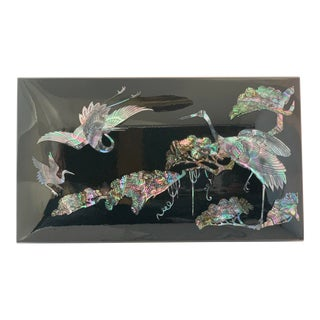 1980s Vintage Japanese Lacquer Box With Inlaid Mother-Of-Pearl Flying Crane Motif For Sale