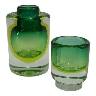 1950s Mid Century Modern Cenedese Sommerso Uranium Glass Vessels - a Pair
