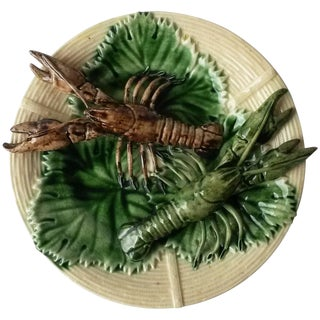 19th Century Majolica Palissy Crawfishs Wall Platter For Sale