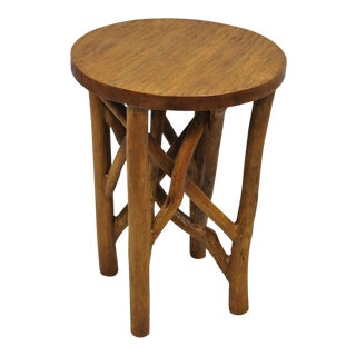 20th Century Primitive Teak Wood Free Form Driftwood Side Table For Sale