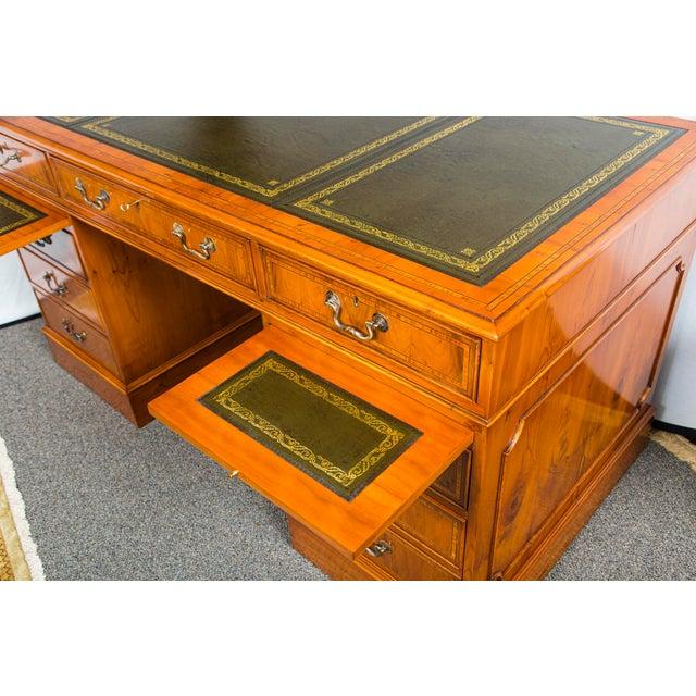 English Myrtlewood (Burled Walnut) Pedestal Desk, green leather tooled top. Drop down computer keyboard drawer. Great...