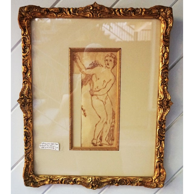 17th Century 17th Century Antique Duca DI Frigia Infant Cupid Italian Pen and Ink Framed Drawing For Sale - Image 5 of 7
