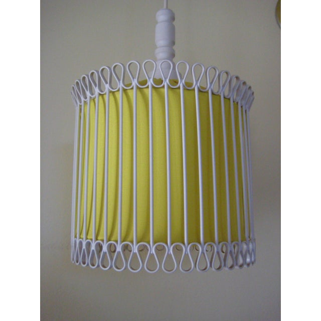 Mid-Century Modern White and Yellow Iron Chandelier For Sale - Image 11 of 11