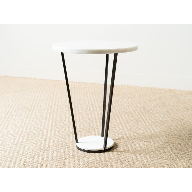 Black iron side table White marble top and base