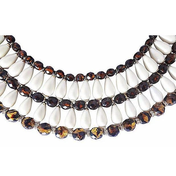 Resin 1960s Vendome Faux-Pearl Bib Necklace For Sale - Image 7 of 8