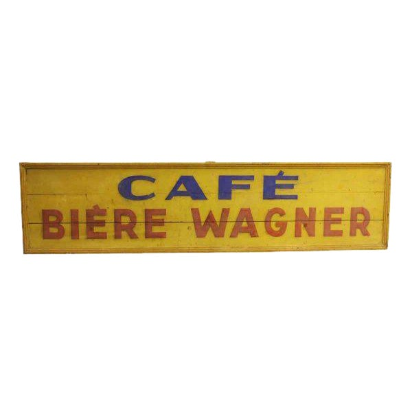 Hand Painted Cafe Biere Wagner Sign For Sale