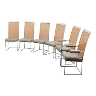 Chrome & Cane Back Dining Chairs by Milo Baughman - Set of 6 For Sale